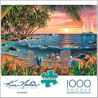 Buffalo-Games Kim Norlien- Summertime Puzzle (Sunset on Beach, Chairs) (1000pc)