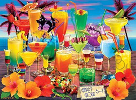 Buffalo-Games Vivid Collection- Happy Hour (Tropical Drinks) Collage Puzzle (1000pc)
