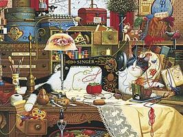 Buffalo-Games Charles Wysocki Cats Maggie Messmaker 750pcs Jigsaw Puzzle 600-1000 Piece #17071
