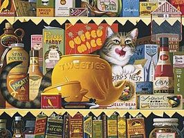 Buffalo-Games Charles Wysocki Cats Ethel Gourment 750pcs Jigsaw Puzzle 600-1000 Piece #17072