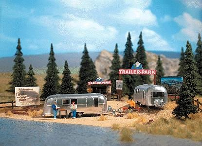 Busch Gmbh Trailer Park Scene -- w/2 ''Airstream'' Trailers - HO-Scale
