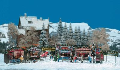 Busch Gmbh Christmas Fair Street Scene - Kit -- HO Scale Model Railroad Building -- #1059