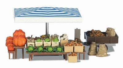 Busch Vegetable Stand - Kit - HO Scale Model Railroad Building Accessory #1070