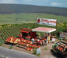 Busch Strawberry Stand w/Accessories - Kit HO Scale Model Railroad Trackside Accessory #1073
