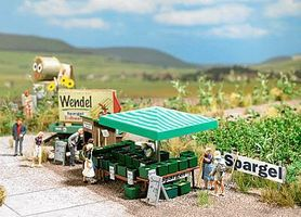 Busch Asparagus Stand w/Accessories - Kit HO Scale Model Railroad Trackside Accessory #1074