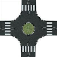 Busch Streets/Roadway 4-Way Roundabout (Traffic Circle) HO Scale Model Railroad Roadway #1101