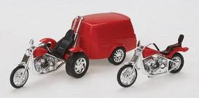 Busch Trike w/Trailer & Motorcycle HO Scale Model Railroad Vehicle #1152
