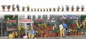 Busch Flower Pots w/Flowers Assorted Sizes & Colors (20) HO Scale Model Railroad Grass Earth #1209