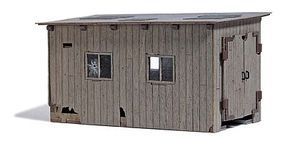 Busch Wood Locomotive Shed - Feldbahn - Weathered HO Scale Model Railroad Building #12381