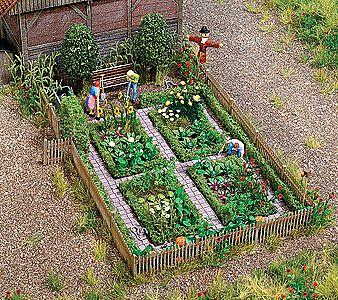 Farm Garden W Accessories Kit Ho Scale Model Railroad