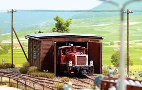 Busch 1930s Small Kf Locomotive Shed - Kit HO Scale Model Railroad Building #1424