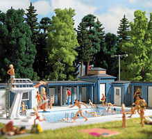Busch Open-Air Swimming Pool Kit HO Scale Model Railroad Building Accessory #1433