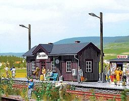 Busch Railway Station Kit HO Scale Model Railroad Building #1462