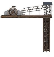 Busch Mine Elevator Kit w/Real Wood HO Scale Model Railroad Building Accessory #1479