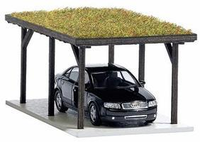 Busch Carport Kit w/Grass Roof/Car HO Scale Model Railroad Building #1482