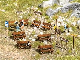Busch Wooden Outdoor Furniture Set Kit HO Scale Model Railroad Building Accessory #1484