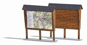 Busch Wood Information Board - Kit HO Scale Model Railroad Trackside Accessory #1495