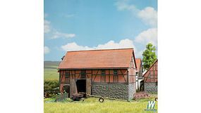 Busch Half-Timbered Barn w/ Large Stable Kit HO Scale Model Railroad Building #1507