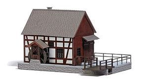 Busch Half-Timbered Water-Powered Mill - Laser-Cut Wood Kit HO Scale Model Railroad Building #1576