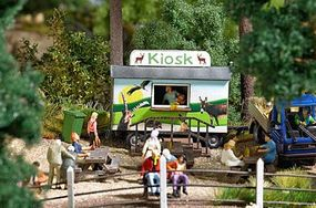 Busch Wildlife Park/Zoo Accessories & Sales Kiosk Trailer HO Scale Model Railroad Building #1589