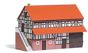 Busch Half-Timber Barn Laser-Cut Kit - 6-7/8 x 3-7/8 x 4-3/4 17.5 x 9.9 x 12cm