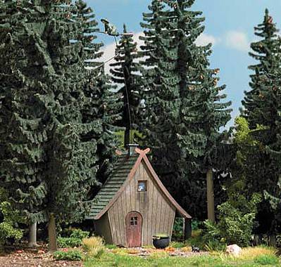 Busch Witchs Cottage with Flying Witch Laser-Cut Wood Kit - 2-1/2 x 2 x 2-11/16  6.4 x 5.2 x 6.8cm