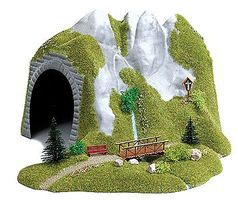 Busch Tunnel With Stream And Wooden Footbridge 36.0 x 26.0cm HO Scale Model Railroad Tunnel #3016