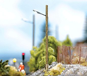 Busch Street Lamps on Wooden Poles HO Scale Model Railroad Roadway Light #4154
