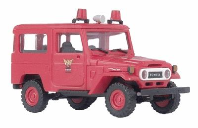 Busch Gmbh Emergency 1975 Toyota Land Cruiser FJ40 Hardtop -- Corpo de Bombeiros (Fire Department red w/white Lettering) - HO-Scale