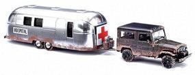 Busch Toyota Land Cruiser w/Airstream Hospital HO Scale Model Railroad Vehicle #43011