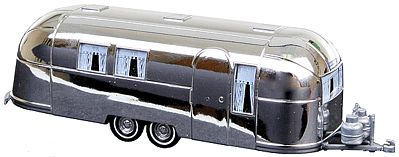 Busch Gmbh 1958 Airstream Aluminum Camping Trailer Silver -- HO Scale Model Railroad Vehicle -- #44982
