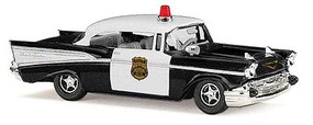 Busch 1957 Chevrolet Bel Air Coupe - Assembled Police (black, white)