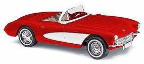 Busch 1956 Chevrolet Corvette Convertible Top Down (red, white) - HO-Scale