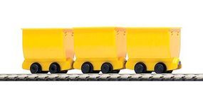 Busch Mining Tipper/Side Dump Ore Car 3-Pack Yellow (3) HO Scale Model Train Freight Car #5020