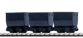 Mining Tipper/Side Dump Ore Car 3-Pack Black (3) HO Scale Model Train Freight Car #5021