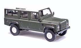 Busch 1983 Land Rover Defender SUV Green, White HO Scale Model Railroad Vehicle #50301