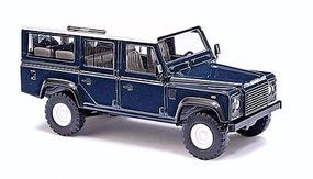 Busch 1983 Land Rover Defender SUV Assembled Blue, White HO Scale Model Railroad Vehicle #50302