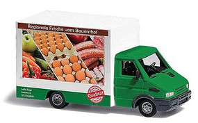 Busch Marchand Food Truck with Working LED Lights Local Fresh Food (white, green, German Lettering), 14-16V