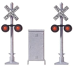 Busch Gmbh Crossing Signal 2 Signals & Relay Box -- HO Scale Model Railroad Trackside Accessory -- #5934