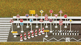 Busch Traffic Sign Set HO Scale Model Railroad Road Accessory #6027