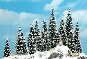 Busch Snow Covered Pine Trees - 2-3/8-5-3/8 HO Scale Model Railroad Tree #6466