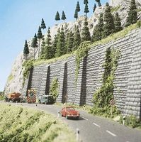 Busch Stone Wall 2-Pack - 13-3/16 x 5-1/2 33.5 x 14cm HO Scale Model Railroad Scenery #7031