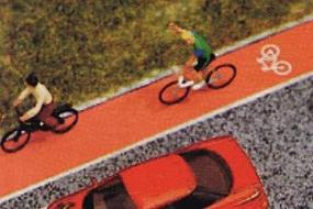 Busch Bycicle Path 14.5 mm Grey/Red with Bicycle Symbol HO Scale Model Railroad Road Accessory #7082