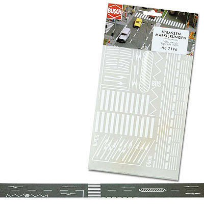 Busch Gmbh Road Markings -- HO Scale Model Railroad Road Accessory -- #7196