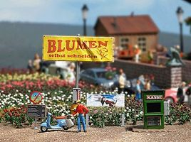 Busch Cut Your Own Flowers Stand Miniature Scene HO Scale Model Railroad Roadway Accessory #7714