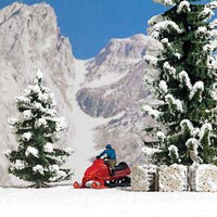 Busch Snowmobile with Figure - Assembled Red