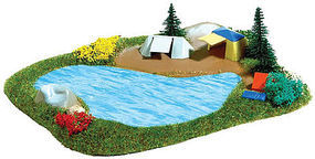 Busch Lake with Campsite N Scale Model Railroad Building Accessory #8052
