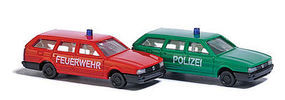Busch VW Passat Fire/Police (2) N Scale Model Railroad Vehicle #8344