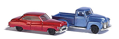 Busch Chevy Pick-up and Buick Sedan metallics (2) N Scale Model Railroad Vehicle #8349
