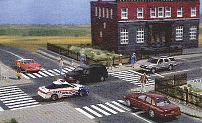 Busch Flexible Paved Intersection - White Markings HO Scale Model Railroad Road Accessory #9712